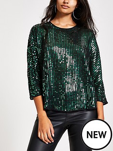 river-island-river-island-sequin-embellished-boxy-top--green