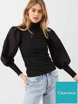 river-island-poplin-sleeve-jersey-top-black