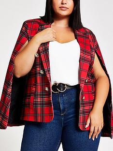 ri-plus-tartan-print-cape-blazer-red