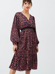 little-mistress-printed-and-pleated-midi-dress-multi