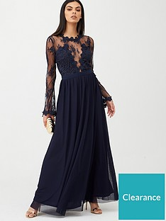 u-collection-forever-unique-lace-top-satin-belt-maxi-dress-navy