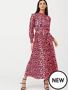 u-collection-forever-unique-leopard-print-midi-dress-pink