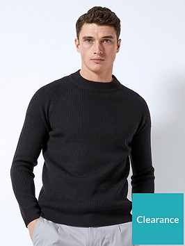 burton-menswear-london-burton-fisherman-crew-neck-knit-jumper-black