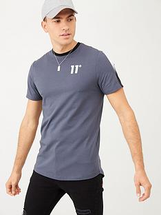 11-degrees-dot-fade-panelled-t-shirt-grey