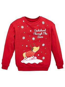 v-by-very-girls-dachshund-christmas-sweatshirt-red