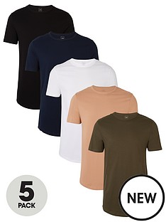 river-island-black-muscle-fit-longline-t-shirt-5-pack