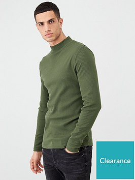 river-island-khaki-turtle-neck-long-sleeve-t-shirt