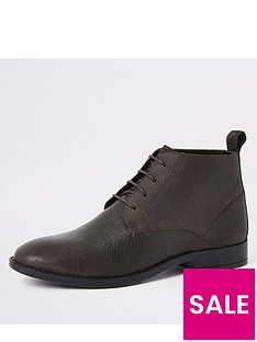 river-island-dark-brown-leather-lace-up-boots