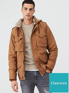 river-island-brown-borg-lined-hooded-utility-parka