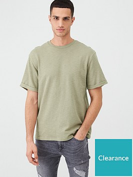 river-island-khaki-textured-short-sleeve-slim-fit-t-shirt