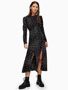 topshop-printed-piped-midi-dress-black