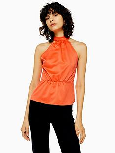 topshop-satin-bow-back-halter-top-orange