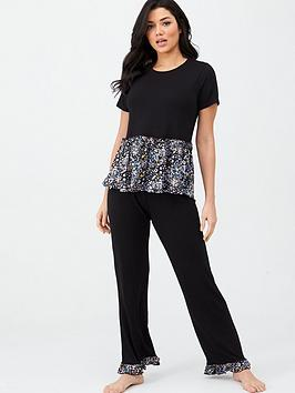 v-by-very-floral-frill-tee-and-crop-trouser-pjs-black