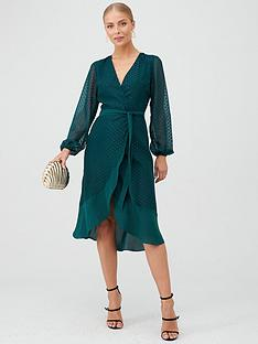 v-by-very-ruffle-hem-metalic-dobby-wrap-dress-green