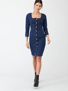 v-by-very-square-neck-denim-button-through-dress-indigo