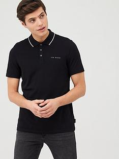 ted-baker-short-sleeve-branded-pique-polo-top-black