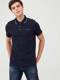 ted-baker-short-sleeve-branded-pique-polo-top-navy
