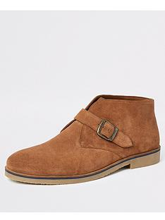river-island-mid-brown-suede-monk-strap-boots