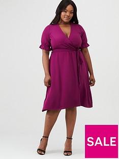 v-by-very-curve-crepe-cuff-sleeve-tea-dress-purple
