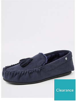 river-island-navy-faux-fur-lined-moccasin-slippers