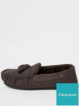 river-island-dark-brown-faux-fur-lined-moccasin-slippers