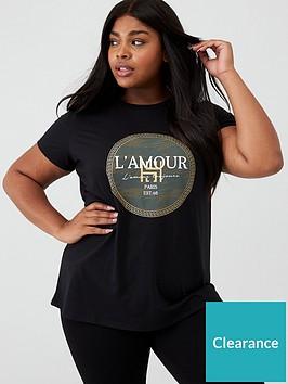 v-by-very-curve-lamour-foil-slogan-t-shirt-black