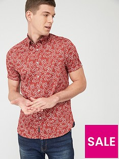 ted-baker-short-sleeve-floral-print-shirt-red