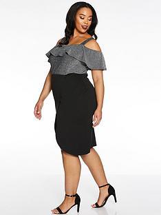 quiz-curve-brillo-bardot-frill-midi-wrap-dress-black
