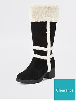 river-island-girls-faux-fur-knee-high-boots-black