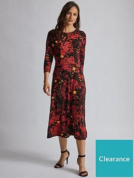 dorothy-perkins-dorothy-perkins-34-sleeve-floral-midi-dress-red