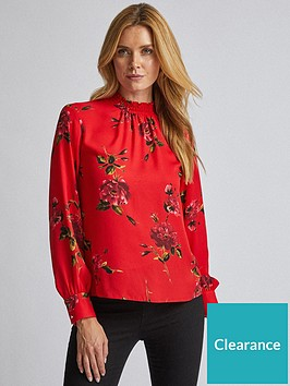 dorothy-perkins-dorothy-perkins-long-sleeve-floral-shirred-neck-top-red