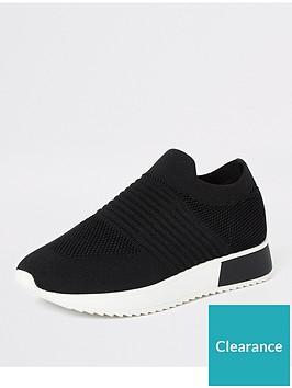river-island-river-island-textured-knit-trainer-black