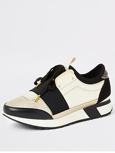 river-island-elasticated-trainer-gold