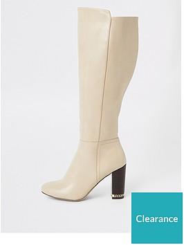 river-island-river-island-contrast-heel-over-the-knee-boot-beige