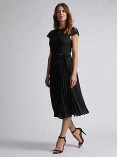 dorothy-perkins-dorothy-perkins-lace-pleated-midi-dress-black