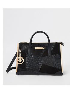 river-island-river-island-triple-compartment-patchwork-tote-black