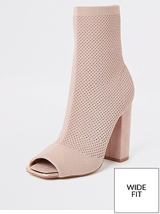 river-island-river-island-wide-fit-stretch-knit-sock-boot-nude