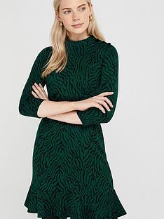monsoon-tiggy-tiger-jacquard-dress-green