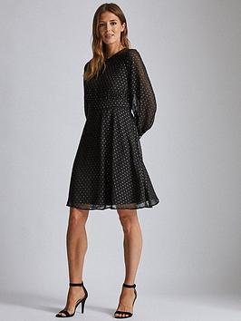 dorothy-perkins-dobby-chiffon-midi-dress-black