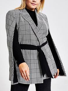 ri-plus-check-belted-cape-blazer-black
