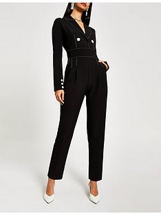 river-island-river-island-contrast-stitch-high-waist-jumpsuit-black
