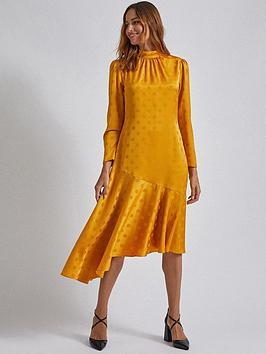 dorothy-perkins-dorothy-perkins-ochre-spot-jacquard-midi-dress-ochre
