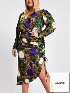 ri-plus-ri-plus-printed-wrap-front-ruched-dress--green