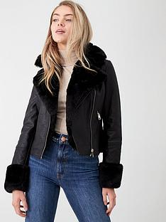 river-island-river-island-faux-fur-collar-quilted-biker-jacket-black