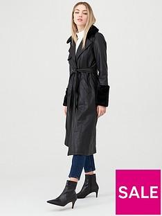 river-island-river-island-faux-fur-cuff-longline-trench-coat--black