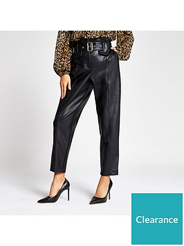 river-island-river-island-faux-leather-high-waist-belted-trousers--black