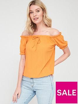 v-by-very-short-sleeve-bardot-top-orangenbsp