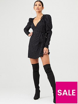 in-the-style-in-the-style-x-stephsa-polka-dot-puff-sleeve-wrap-dress-black