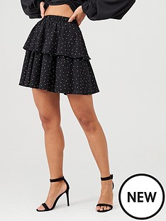 in-the-style-in-the-style-x-stephsa-polka-dot-tiered-mini-skirt-black