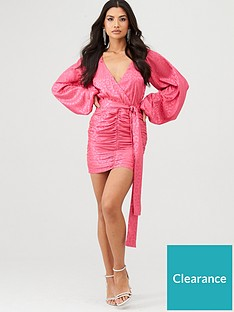 in-the-style-in-the-style-x-charlotte-crosby-leopard-jacquard-balloon-sleeve-dress-pink
